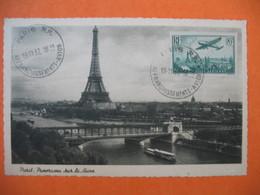 Carte Maximum France 1936 - 1947   N° PA 8 Avion Survolant Paris - Cachet Paris RP Affranchissements Avion - Cartes-Maximum