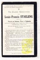 DP Louis F. Staelens / VanHecke ° Leffinge Middelkerke 1849 † 1909 - Images Religieuses