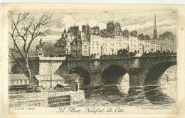 75 CPA Paris Gravure Eau Forte Pont Neuf Cité Pinet Graveur N° 5 - Bridges