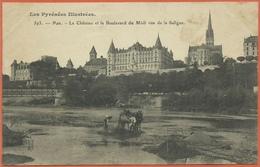 -  64  -  Pau  -  Le  Chateau  Et  Le  Boulevard  Du  Midi  Vus  De  La  Saligue . - Pau