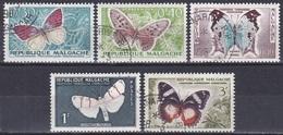 Madagaskar Madagascar Malagasy 1960 Tiere Fauna Animals Schmetterlinge Butterflies Papillion Mariposa, Mi. 445-9 Gest. - Madagaskar (1960-...)