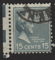 1938 US, 15c Stamp, Used, James Buchanan, Sc 820 - United States