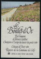 Rare // Etiquette De Vin // Autres // Coteau De Vincy, Le Boulet D'Or, Werner Günthor, Champion D'Europe Lancer Du Poids - Etiquettes
