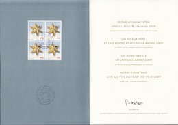 SCHWEIZ 2080, 4erBlock Auf Offizieller Glückwunschkarte Weihnachten 2008, Stern - Blocks & Sheetlets & Panes