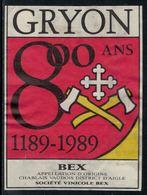 Rare // Etiquette De Vin // Autres // Bex, 800ème Gryon - Etiquettes