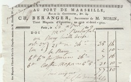 """PARIS : Facture Du Magasin D'épiceries Ch. BERANGER """" Au Port De Marseille"""", 34 Rue De La Cossonnerie. - France"""