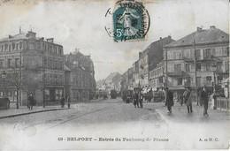 BELFORT : Entrée Du  Du Faubourg De France  Animée- Tramways - Belfort - City