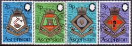 ASCENSION 1973 SG #166-69 Compl.set Used Royal Naval Crests (5th Series) - Ascension