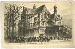 75 CPA Paris Gravure Eau Forte Eglise Saint Eustache Marche Des Halles Pinet Graveur N°28 1919 - Churches