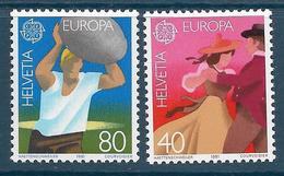 Timbre Neuf** De Suisse, N°1126-7 Yt , Europa 1981, Folklore, Danseurs En Costume, Lanceur De Pierre D'unspunnen - Suisse