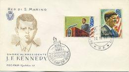 SAN MARINO - FDC  CAPITOLIUM F.A.I.P. 1964 - J.F. KENNEDY - VIAGGIATA - FDC