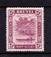 BRUNEI    1947    25c  Deep  Claret    Perf  14      MH - Brunei (...-1984)