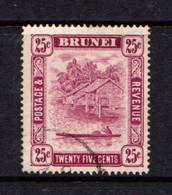 BRUNEI    1947    25c  Deep  Claret    Perf  14      USED - Brunei (...-1984)