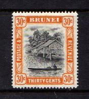 BRUNEI    1947    30c  Black  And  Orange    Perf  14      MH - Brunei (...-1984)