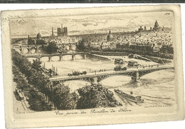 75 CPA Paris Gravure Eau Forte Ponts Pris Du Pavillon De Flore  Pinet Graveur N°20 - Bridges