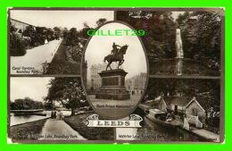 LEEDS, UK - 5 MULTIVUES - CANAL GARDENS, UPPER LAKE, WATERFALL, WATERLOO PARK, ROUNDHAY PARK - - Leeds
