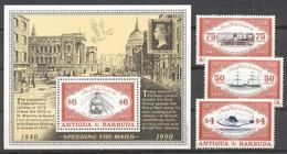 Antigua & Barbuda 1990 - MNH - Aircraft, Stamp On Stamp, Train / Railway - Non Classés