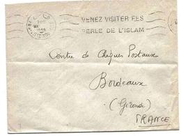 Maroc Morocco Lettre Cover Fez 1958 OMEC Islam Oblitération Mécanique - Maroc (1956-...)