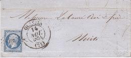 Quintin Cotes Du Nord Cotes D'armor Timbre à Date Type 13 1854  20c Empire ND Oblitération Pc 2616 - 1849-1876: Classic Period