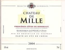 PREMIERES COTES DE BORDEAUX CHATEAU DE MILLE 2004 (4) - Bordeaux