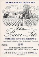 PREMIERES COTES DE BORDEAUX CHATEAU BEAU-SITE 1988 (4) - Bordeaux
