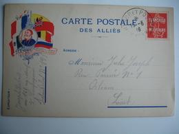 Carte Franchise Militaire  Drapeau Allie Cote Gauche Armee Coloniale Guerre 14.18 - Postmark Collection (Covers)