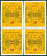 """HERTZ, H. - Germany 2013 Michel # 3036 -  Bloc Of 4 ** MNH -  Physics - """"125 Years Of Electric Force"""" - Physics"""