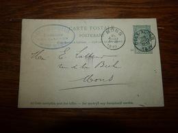Entier Postal Carte Publicité Cachet  Marcophilie Mons Deux Acren 1899 Herboriste Louis Deanscutter - Publicité