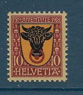Timbre Neuf** De Suisse, N°168 Yt , Pro Juventute 1918, Armoiries Uri - Svizzera