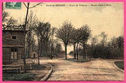 Carte Toilée - Forêt De Sénart - Croix De Villeroy - Route Allant à Paris - Attelage - Animée - A. GERMAIN - 1909 - Sénart
