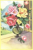 Tematica - Fiori - Rose - Mazzo Di Rose Su Davanzale In Vaso Di Vetro - Not Used - Flowers