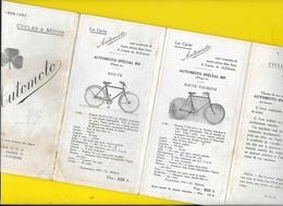 """Catalogue 1922 Dépliant Cycles """" AUTOMOTO"""" Format 18 X 9 Cm Env.. - Cyclisme"""
