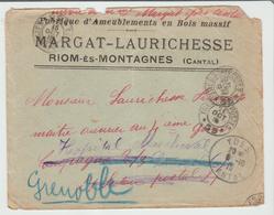 """CANTAL: """" FABRIQUE AMEUBLEMENT BOIS MASSIF Margat-Laurich /  LSC De Ydes 1915 En FM  B/TB - Marcophilie (Lettres)"""