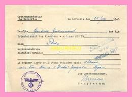 TITRE DE TRANSPORT  SNCF OUEST  Nantes Orleans Delivré Par La Commandature De LA BERNERIE  En 1940 - Transportation Tickets