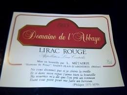 Etiquette De Vin Avec Recette Au Dos DOMAINE DE L'ABBAYE Lirac Rouge  Hameau De Pizay St Jean  D'ardiereS Millesime 1983 - Etiquettes
