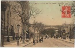 CPA 75 PARIS XX 185 Rue Des Pyrénées  Temple Eglise Réformée De Bethanie Et Pont Ramus Carte Colorisée 1912 - Distretto: 20