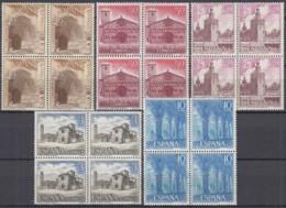 SPANIEN 1636-1640, 4erBlock , Postfrisch **, Sehenswürdigkeiten 1966 - 1961-70 Unused Stamps