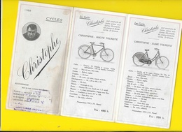 """2 Catalogues Dépliants 1922 & 23 Cycles """" CHRISTOPHE"""" Format 18 X 9 Cm Env.. - Cyclisme"""