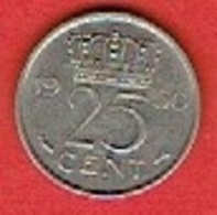 NETHERLANDS #  25 CENT FROM 1950 - [ 3] 1815-… : Kingdom Of The Netherlands