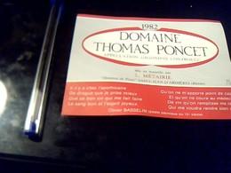 Etiquette De Vin Avec Recette Au Dos Domaine Thomas Poncet  Hameau De Pizay St Jean  D'ardiereS Millesime 1982 Gigondas - Etiquettes