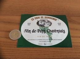 Etiquette «Vin De Pays Charentais - LE CHAI DE BONNEMIE - St-Pierre-dOléron (17)» Carte île D'Oléron - Blancs