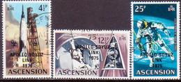 1975 ASCENSION SG #192-94 Compl.set Used Apollo-Soyuz Link - Ascension