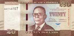 Liberia 20 Dollars, P-33 (2016) - UNC - Liberia