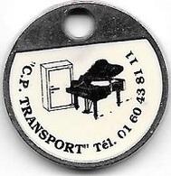 Jeton De Caddie Argenté  C . P . TRANSPORT  Transport De Votre Piano Depuis 25 Ans ! - Jetons De Caddies