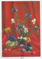 Joyeuses Pâques. Bouquet D'iris, Marguerites Et Freesia, œufs Colorés. - Pasqua