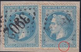 N°29B Sur Fragment Avec Variété Très Gros 2ème Point Dans Le Cartouche Du Bas, TB - 1863-1870 Napoléon III Lauré