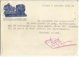 CP157-CARTOLINA PUBBLICITARIA POMPE PER VUOTO E COMPRESSORI ING. BRIZIO BASI MILANO - 1900-44 Vittorio Emanuele III