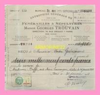 RECUS DE LA MAISON GEORGES TROUVAIN  Paris Et Cimetieres De La Ville De Paris 1933 Et 1939 - Frankrijk