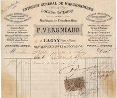 VP14.312 - Facture - Entrepôt Général De Marchandises Et Docks Du Bâtiment P. VERGNIAUD à LAGNY ( Seine Et Marne ) - France