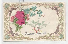 Sincères Souhaits (mariage), Fleurs En Tissus, Myosotis, Nœuds, Colombes Et Couronne De Fleurs. Relief. - Noces